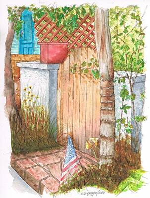 Door With Flag In Venice Canal - California Poster by Carlos G Groppa