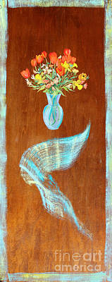 Floating Bouquet Door  Poster by Asha Carolyn Young