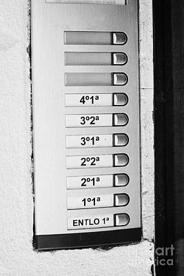 Doorbells And Apartment Buzzers In An Old House In Tarragona Catalonia Spain Poster by Joe Fox