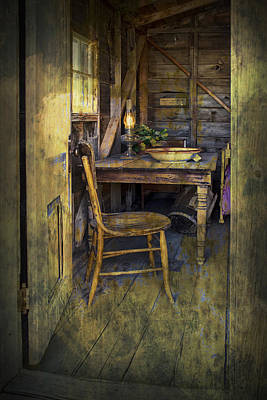 Doorway With Chair And Table Setting With Oil Lamp Poster by Randall Nyhof