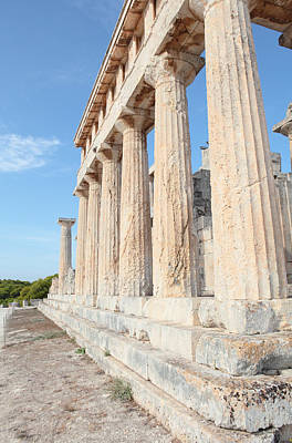 Doric Columns At Temple Of Aphaia Poster by Paul Cowan