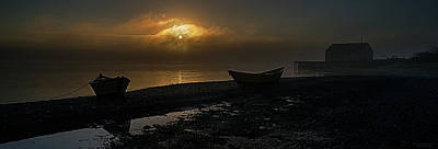 Poster featuring the photograph Dories Beached In Lifting Fog by Marty Saccone