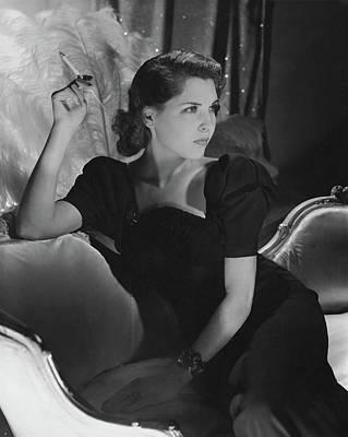 Dorothy Hart Hirshon Wearing A Schiaparelli Dress Poster by Horst P. Horst