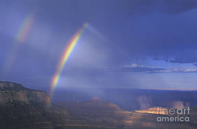 Poster featuring the photograph Double Rainbow At Cape Royal Grand Canyon National Park by Dave Welling