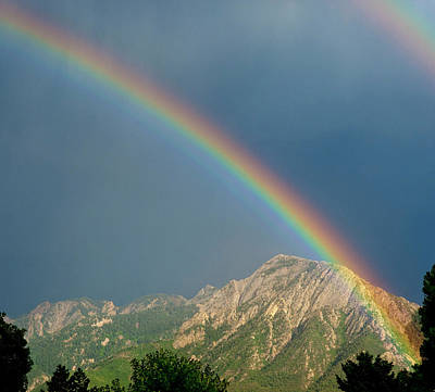 Double Rainbow Over Mount Olympus Poster