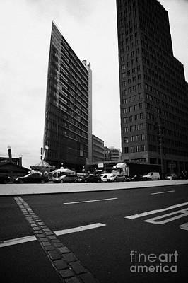 double row of bricks crossing Potsdamer Platz to signify the previous position of the berlin wall Berlin Germany Poster by Joe Fox