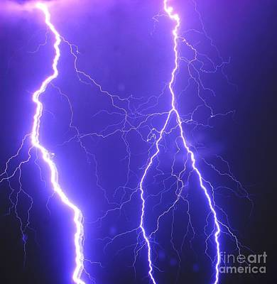 Double Triple Blue Lightning Poster