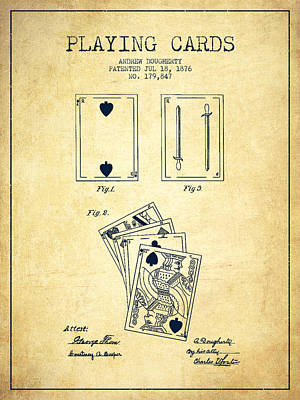 Dougherty Playing Cards Patent Drawing From 1876 - Vintage Poster by Aged Pixel