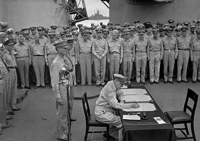 Douglas Macarthur Signs Documents Poster by Everett