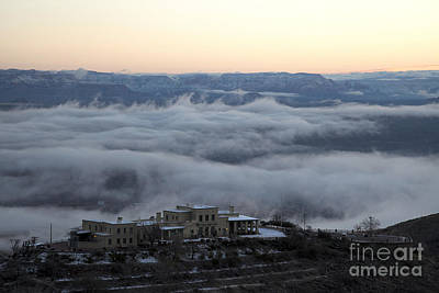 Douglas Mansion Above The Clouds Hovering Over The Verde Valley From Jerome Arizona Poster