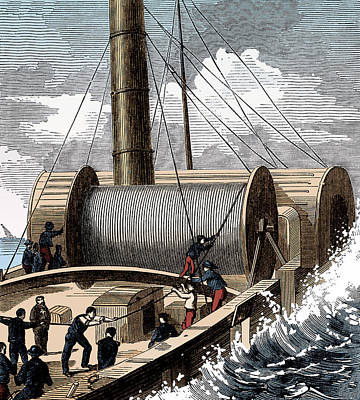 Dover To Calais Telegraph Wire, 1850 Poster by Science Source