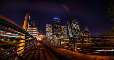 Down Town Houston From The Buffalo Bayou Bridge Poster by Micah Goff