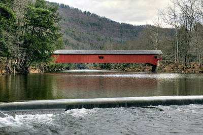 Poster featuring the photograph Downstream From The Historic Hillsgrove Covered Bridge by Gene Walls