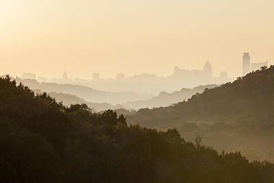 Downtown Austin From 360 On A Foggy Morning Poster by Rob Greebon
