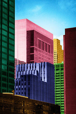 Downtown Building Blocks Poster by Bartz Johnson