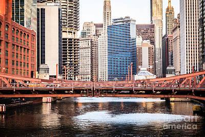 Downtown Chicago Skyline At Lasalle Street Bridge Poster