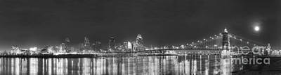 Downtown Cincinnati In Black And White Poster