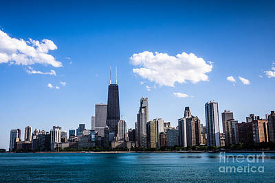 Downtown City Skyline Of Chicago Poster by Paul Velgos
