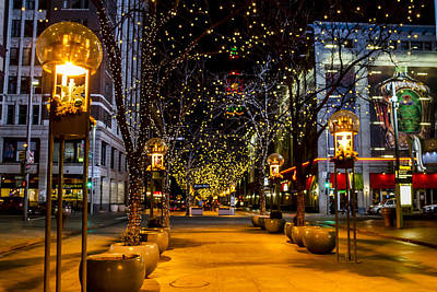 Downtown Denver At Christmas Poster by Teri Virbickis