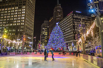 Downtown Detroit Ice Rink  Poster