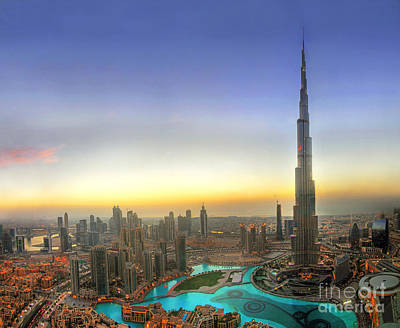 Downtown Dubai At Sunset Poster by Lars Ruecker