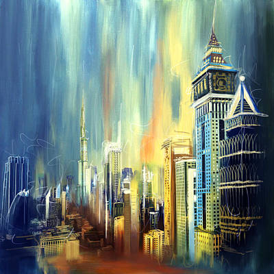 Downtown Dubai Skyline Poster by Corporate Art Task Force