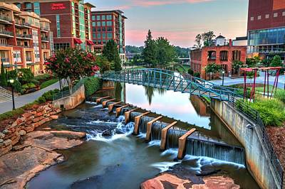 Downtown Greenville On The River Poster