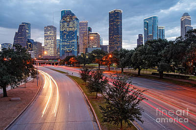 Downtown Houston From The Allen Parkway Foot Bridge - Houston Texas Poster by Silvio Ligutti