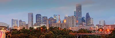 Downtown Houston Panorama At Dawn Poster by Silvio Ligutti
