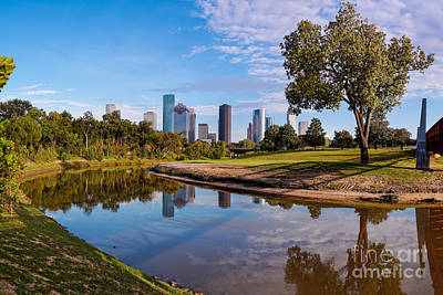 Downtown Houston Panorama From Buffalo Bayou Park Poster