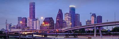 Downtown Houston Panorama From Hogan Street Bridge - Houston Texas Poster by Silvio Ligutti