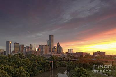 Downtown Houston Skyline Glorious Sunset Light Poster