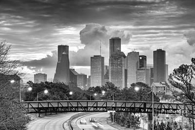 Downtown Houston Skyline In Black And White - Texas Poster by Silvio Ligutti
