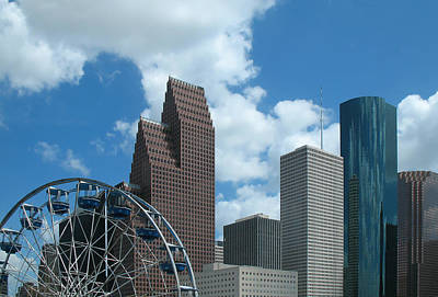 Downtown Houston With Ferris Wheel Poster by Connie Fox