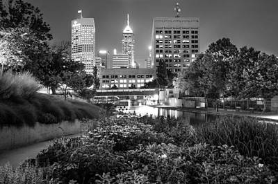 Poster featuring the photograph Downtown Indianapolis Skyline At Night - Black And White by Gregory Ballos