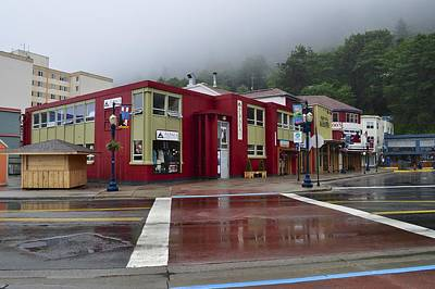 Poster featuring the photograph Downtown Juneau On A Rainy Day by Cathy Mahnke