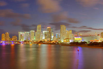 Downtown Miami And Aaa Poster by Claudia Domenig