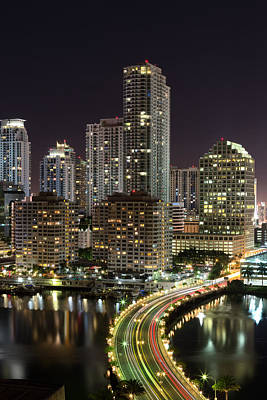 Downtown Miami From Brickell Key Poster