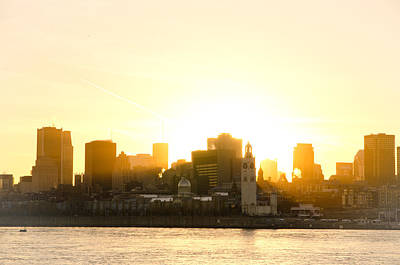 Downtown Montreal In Fall Season Dusk Poster by Eric Soucy