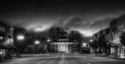 Downtown Murphy Nc In Black And White Poster