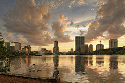 Downtown Orlando Skyline Lake Eola Sunset II Poster by Silvio Ligutti