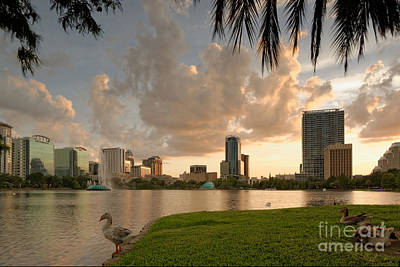 Downtown Orlando Skyline Lake Eola Sunset Poster by Silvio Ligutti