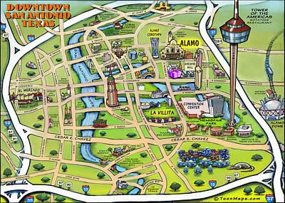 Downtown San Antonio Texas Cartoon Map Poster