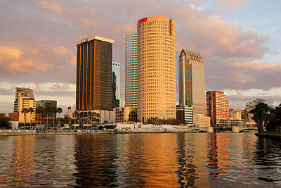 Downtown Tampa At Dusk On Hillsborough River Poster by Daniel Woodrum