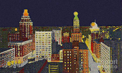 Downtown Tulsa At Night Around 1940 Poster