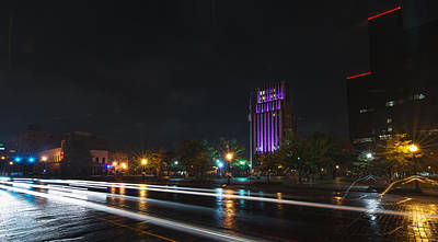 Downtown Tyler Texas At Night Poster