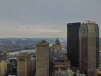 Dowtown Pittsburgh At Roof Level Poster by Cityscape Photography