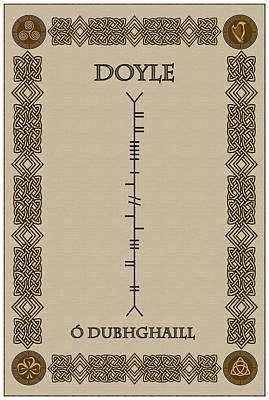 Poster featuring the digital art Doyle Written In Ogham by Ireland Calling