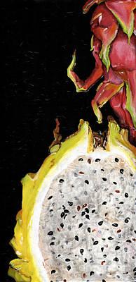 dragon fruit yellow and red Elena Yakubovich Poster by Elena Yakubovich