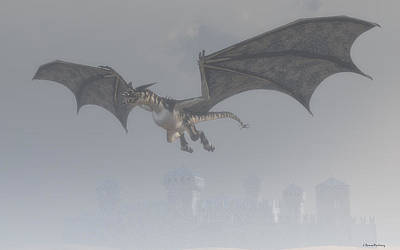 Dragon In The Fog Poster by Ramon Martinez